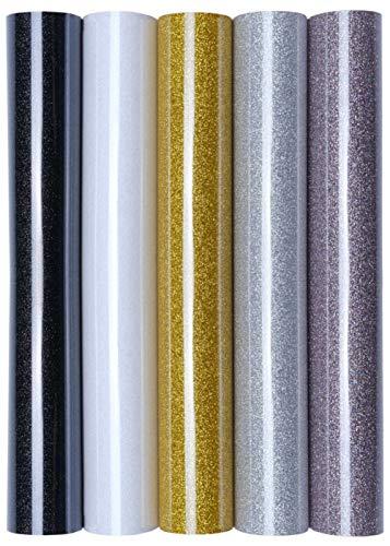 5er Set Glitter/Glitzer A4 Transferfolie/Textilfolie zum Aufbügeln auf Textilien - perfekt zum Plottern geeignet, Glitter 2:5er Set Eleganz