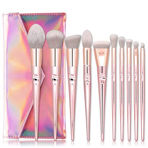 Apofly 10pcs Maquillage Populaire Pinceaux Doux Fibres Synthétiques Cosmétiques Brosse Kit Avec Sac Fard À Paupières Fondation Blending Brush (rose)