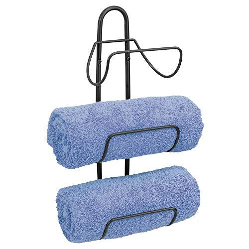 mDesign Estante toallero para montar en la pared – Estantería de baño en metal con 3 soportes – Elegante toallero de pared para guardar toallas de baño, de mano o manoplas – negro