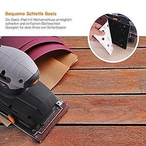 TACKLIFE Schwingschleifer, 300W Schleifmaschine von 230mm*115mm Schleifplatte,10 Stück Klettschleifpapier, 6,000-12,000RPM, 6 Geschwindigkeiten verstellbar mit Klemm-Befestigung PSS02A