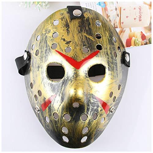 Dream Loom Jason Máscara, Disfraz de Halloween Cosplay Máscara de Fiesta Prop, Masquerade Mask Adult Size (Oro)
