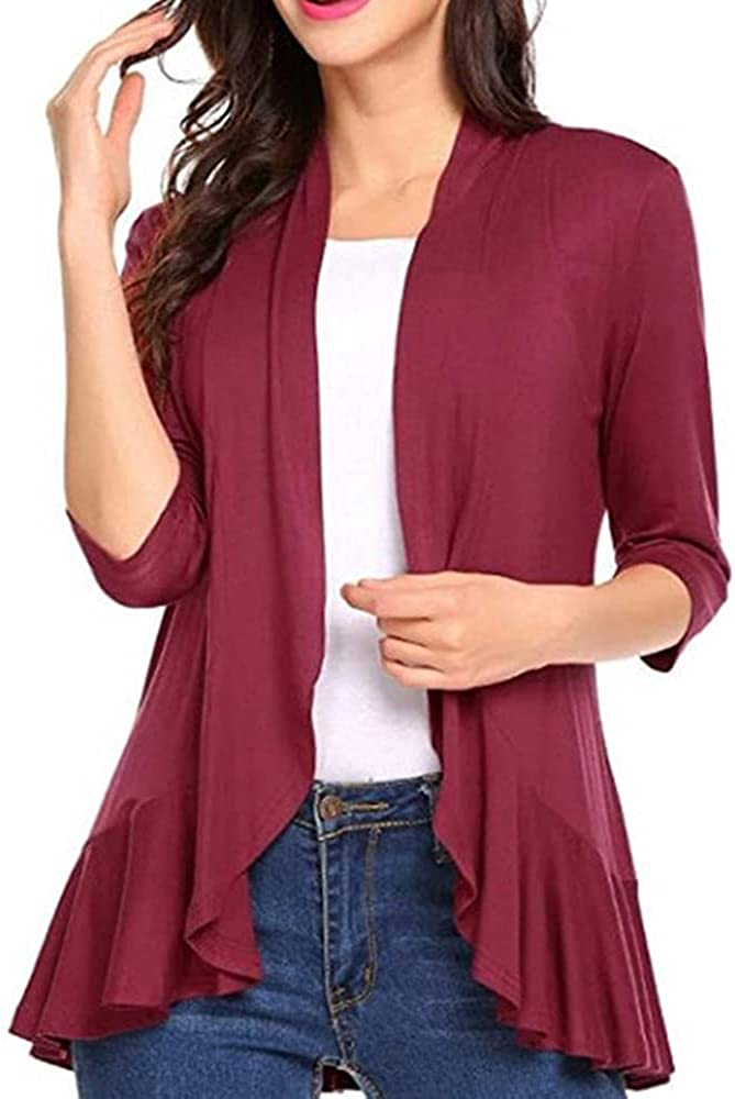 Bengbobar Women's Fall Solid Color Loose Long Sleeve Knitted Cardigan Blouses Casual Cover Up
