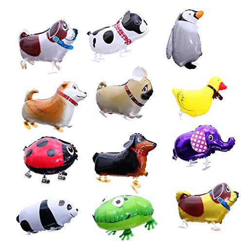 Toyvian Cute Walking Animal Balloons,Pet Dog Balloons Photo Props for Kids Gift Birthday Party Décor 12 pcs, Random Style