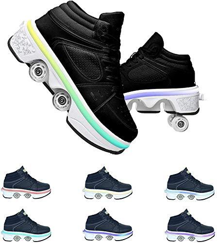 Kick Roller Shoes Skate con Luci A LED Colorate, Scarpe Anti-Deformazioni, Scarpe da Corsa All'aperto con Ruote per Adulti E Bambini,39
