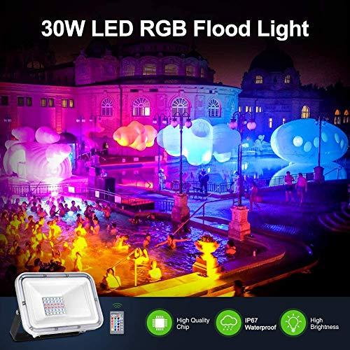30W RGB LED Strahler, IP67 Wasserdicht Scheinwerfer mit Fernbedienung, LED Fluter Farbwechsel Flutlicht, 16 Farben 4 Modi, Farbig Außenstrahler für Gartenbeleuchtung, Weihnachten, Party Deko