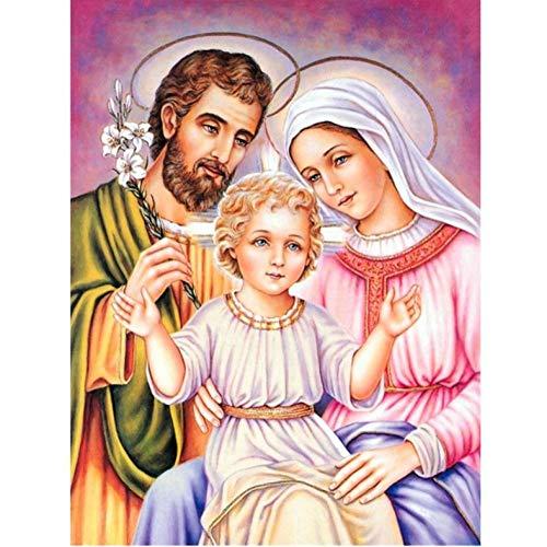XHHZ Bricolaje Kit De Pintura De Diamante 5D Punto De Cruz Jesús Nacimiento Pastor Diamante De Imitación Pintura Diamante Mosaico Regalo De Navidad-40X50cm