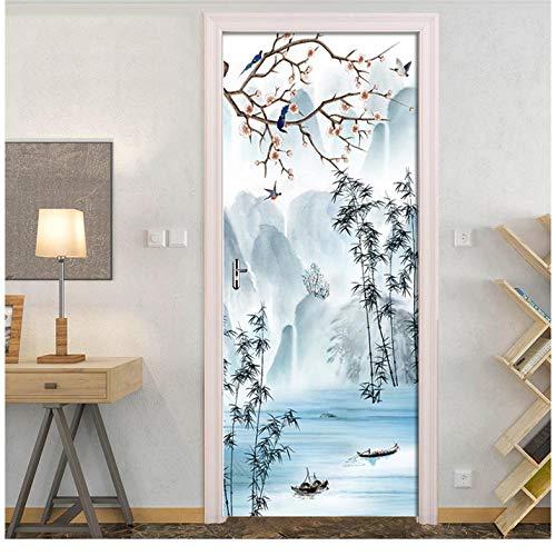 Chinese wind- en landschapsbloemen en -vogelschilderij bedrukken 3D waterdichte PVC-kunstdeurstickers decoratieve muurschilderingen doe-het-zelf muursticker 95 * 215cm