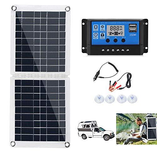 Kit de panel solar, 60 W, 6 – 18 V, paneles solares plegables y portátiles, de polisilicio, + 20/30/40/50/100 A, controlador de carga LCD, PWM, salida USB, sistema solar para camping, caravana, barco