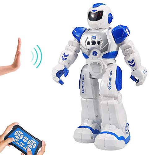 HUSAN RC Robot per Bambini, Robot Intelligente Interattivo Controllo a Infrarossi Programmabili Canto Danza Robot Sensazione di gesti Giocattoli per Bambini
