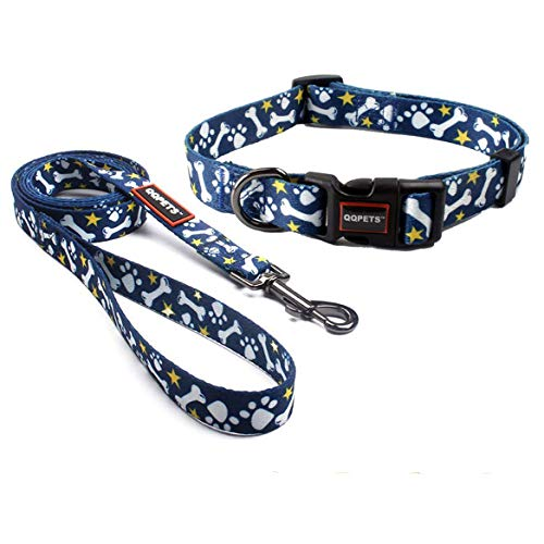 QQPETS Dog Collar and Leash Set Durable Nylon Adorable Dog Collar for XS Extra...
