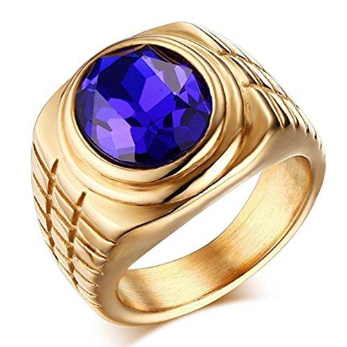 Jinshiyinyu uomini e donne in acciaio INOX Fashion blu con strass anello placcato oro/Silvery e titanio-e-acciaio inox, 17, colore: Yellow
