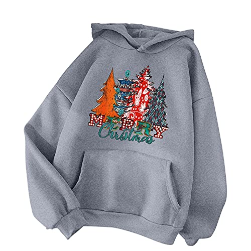 BIKETAFUWY Felpa natalizia da donna con cappuccio e stampa natalizia, da donna, A34, XXL
