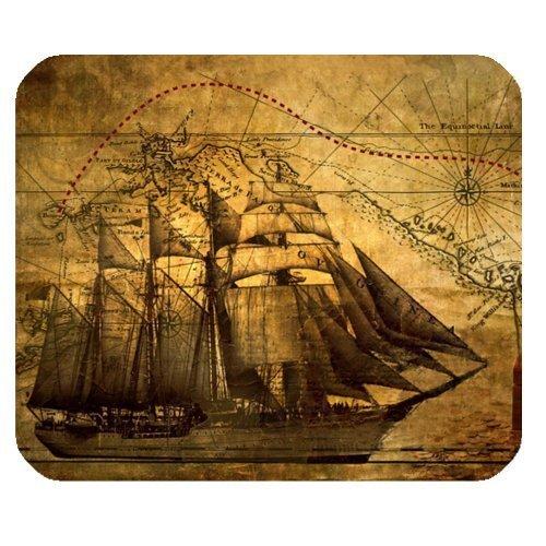 Nautical Vintage Sailing Pirate Ship Theme Mouse Pad - Gamer Gaming Mouse Pad