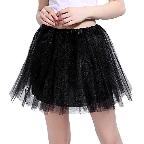 InnoBase Tutu Damenrock Tüllrock 50er Kurz Ballet 3 Layers Tanzkleid Zubehör für Frauen Mädchen 8 Farben (Schwarz)