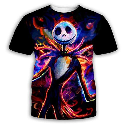 Mr. Painted Skull Print Black Camiseta Summer 3D Print Design Manga Corta Unisex Moda Casual Pullover Tees,7XL