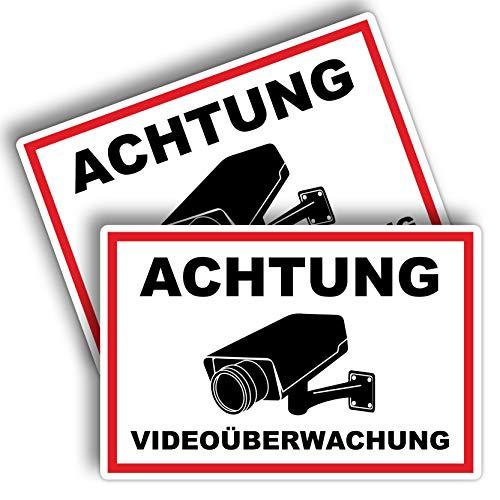 2 Stück Achtung Videoüberwachung Schild 20 x 30 cm aus Stabiler PVC Hartschaumplatte 3mm Dieser Bereich Wird überwacht Schild mit UV-Schutz von STROBO