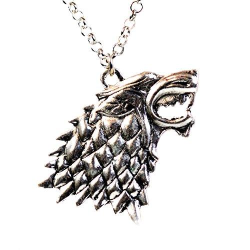 (Style 1) - Game of Thrones House of Stark Direwolf Head Pendant Necklace Dark Horse Sigil