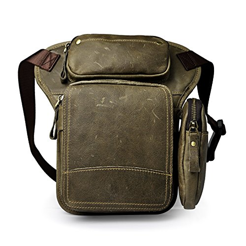 Le'aokuu Herren Echtes Leder Tasche Schultertasche Gürteltasche Beinbeutel Beintasche Hüfttasche Drop Leg Thigh Bag Angeln Outdoors Messenger Bag 3108 (Grau 1)