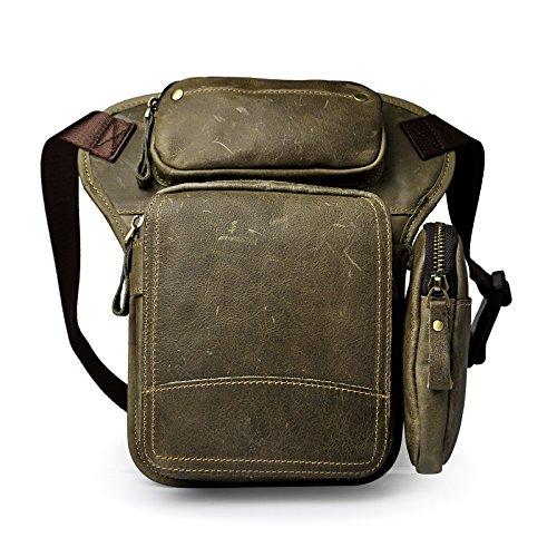 Le'aokuu Herren Echtes Leder Tasche Schultertasche Gürteltasche Beinbeutel Beintasche Hüfttasche Drop Leg Thigh Bag Angeln Outdoors Messenger Bag 3108 (Grau 1)