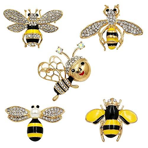 WANGJINQIAO Crystal Rhinestone y Esmalte Bee Bumblebee Broche Pin de Moda Ropa de Mujer Accesorios de joyería (5 Piezas) Broche (Color : 5pcs)