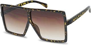 XL Extremely Oversize Slim Square Flat Top Shield Mod Sunglasses Designer Shades
