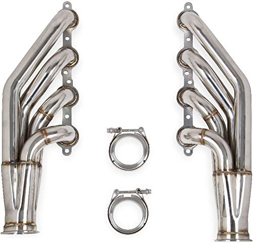 NEW FLOWTECH LS TURBO HEADERS,NATURAL FINISH,1.875 INCH TUBE DIAMETERS,3' COLLECTORS,COMPATIBLE WITH GM LS ENGINES