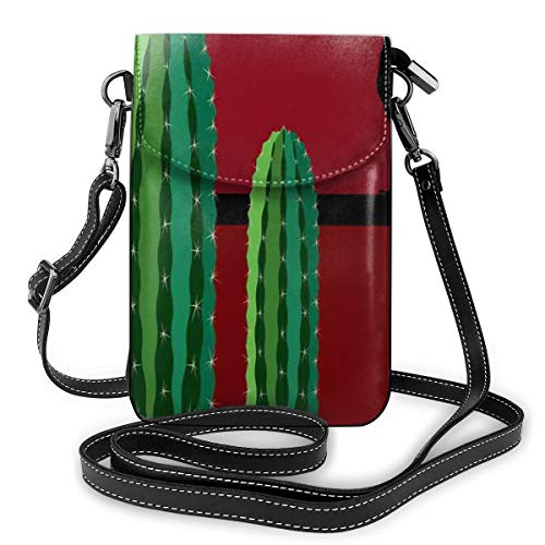Women Small Cell Phone Purse Crossbody,Saguaro Cactus Succulent Plants And A Bird Perched On A Wire Wild West Theme