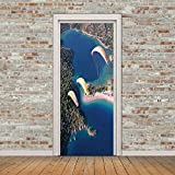 RYBNNP 3D Door Decals Wall Murals Peel And Stick Wallpaper Skydiving Woods Blue Lake View Door Stickers Removable Self-Adhesive Vinyl Art Poster Stickers Kids Boys Girls Bedroom Home Decor 35.4X78.7 I