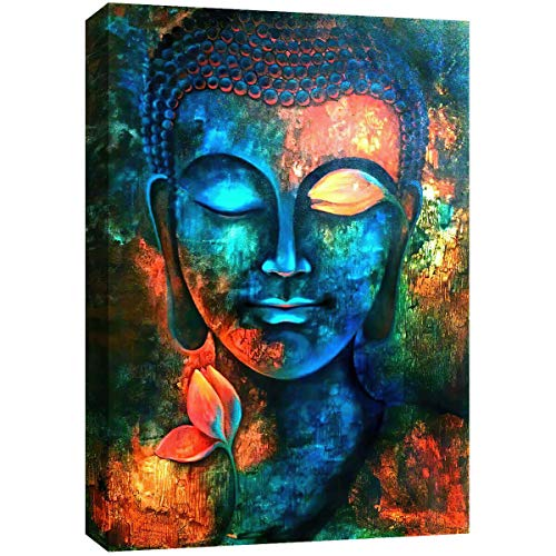 Lz Art Blue Buddha Wall Decor Colorful Abstract Buddha Head Wall Art Zen Prints,Framed for Bedroom Bathroom Living Room Office Decor