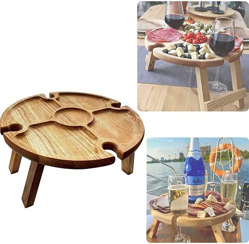 Holz Picknicktisch Klappbar, Tragbarer Picknicktisch Weinhalter Mini, Picknicktisch Mit Glashalter Runde Form, Mini-Klapptisch, Weintisch FüR Garten, Outdoor, Camping, Strand