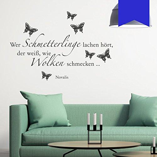 WANDKINGS Wandtattoo Wer Schmetterlinge lachen hört, der weiß, wie Wolken schmecken … (Novalis) 125 x 85 cm azurblau - erhältlich in 33 Farben