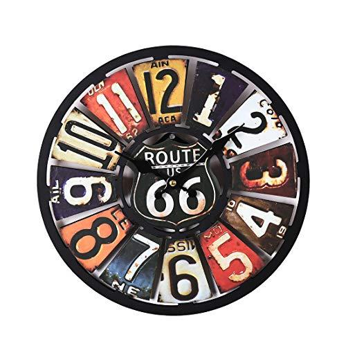 Riva776Yale 34 cm Reloj de Pared silencioso Retro Euramerican, de la Ruta 66 de Reloj Colorido para la decoración del hogar