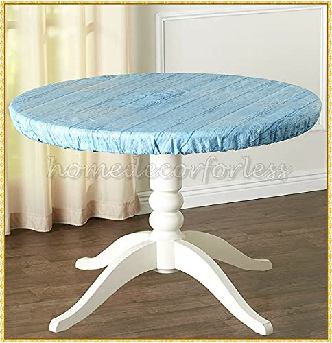 Round Vinyl Fitted Elastic Table Cover Wood Grain Flannel Back