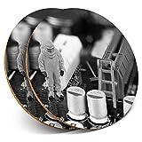 Posavasos redondos de vinilo de Destination Ltd (juego de 2) BW – Técnico de Computación Geek PC reparaciones Bebidas Brillantes Posavasos / Protección de mesa para cualquier tipo de mesa #37749