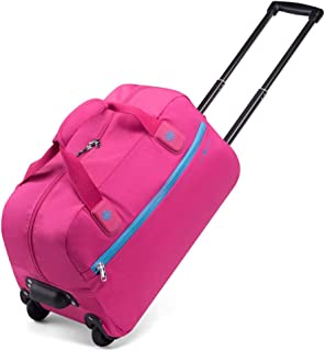 Ladies Travel Holdall Bags Hand Luggage Weekend Wheeled Trolley Bag Trendy Large Capacity ZHANGAIZHEN (Color : Rose red, Size : 492613cm)