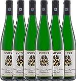 VINELLO 6er Weinpaket Weißwein - Laumersheimer Kapellenberg Riesling 2019 - Knipser mit Weinausgießer | trockener Weißwein | deutscher Wein aus der Pfalz | 6 x 0,75 Liter