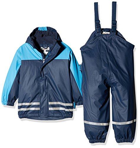 Playshoes Regenanzug-Set mit Fleece gefüttert, Jungen Matsch-Anzug 2-teilig, wind- und wasserdicht, Blau (Marine 11), 92