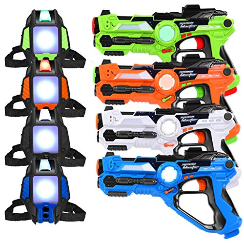 Costzon Infrared Laser Tag Blasters & Vests, Pack of 4 Laser Tag Reality Gaming Kit, 4 Players Synchronization Game, 130ft Shooting Range w/ Lights, Sound, Vibration, Adjustable Buckle for Kids
