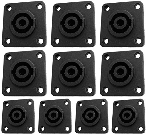 CESS Speaker Jack Twist Lock 4 Pole Square (Rectangle) - Speakon Female Socket Panel/Chassis Mount - Compatible with Neutrik Speakon NL4MP, NL4MPR, NL4FC, NL4FX, NLT4X, NL4 Serie (jgc) (10 Pack)