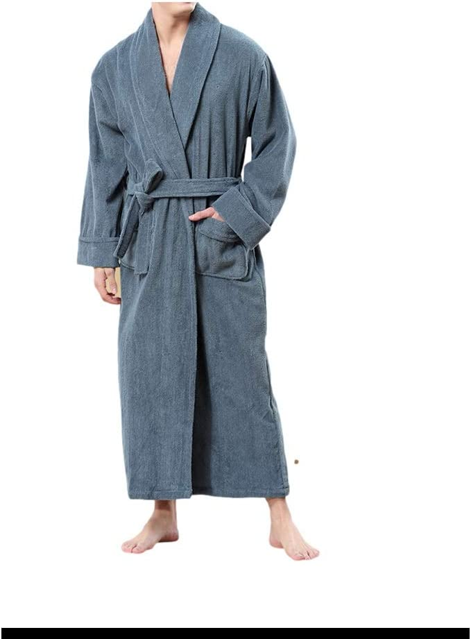 Robe Shower Bathrobes for Men,Home Terry Robe Fleece Robe Plush Long Bathrobe Lounge Robe Winter Gifts Sleepwear Winter Gowns (Color : Blue, Size : Large)
