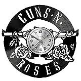 WoD Guns and Roses - Reloj de pared de vinilo, diseño retro