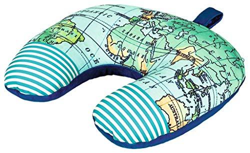 Fernweh 3-in-1 Kissen für Reisen   Nackenhörnchen, Nackenrolle und Reisekissen in Einem   Multifunktionales Kissen für unterwegs   Weltkarte