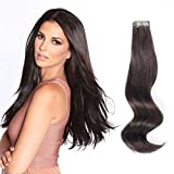 ABH AmazingBeauty Hair Semi-permanent Tape Attached Real Remi Remy Human Tape in Hair Extensions 50g 20pcs Invisible Seamless Reusable Skin Weft Darkest Brown Color 2 18 Inch