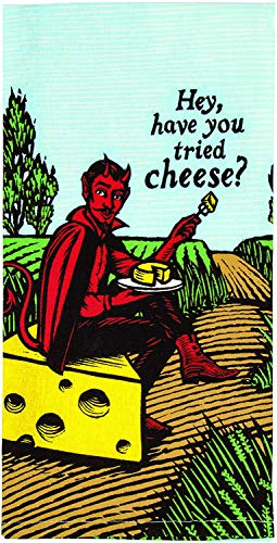 Hey, Have Your Tried Cheese? Blue Q Dish Towel, Screen-Printed with Water-Based Inks, 100% Cotton, 28 by 21 Inches