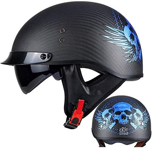 QDY Casco de Motocicleta Medio Casco Brain - Cap Casco de Cara Abierta Casco Jet de Fibra de Carbono Retro Harley Cruiser Chopper Pedal Ciclomotor Casco Crash Helmet