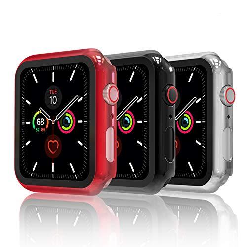 Hianjoo [3-Pack] Cover con Vetro Temperato Compatibile per Apple Watch 44mm, Custodia Pellicola Proteggi Schermo Compatibile on Apple iWatch 44mm Series 6/SE/5/4 - Nero, Argento, Rosso