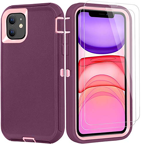 BMBZON iPhone 11 Case with 2 Screen Protector Tempered Glass, Full Body Protection Cover Military Grade Heavy Duty Rugged Shockproof Drop-Proof Phone Case 6.1