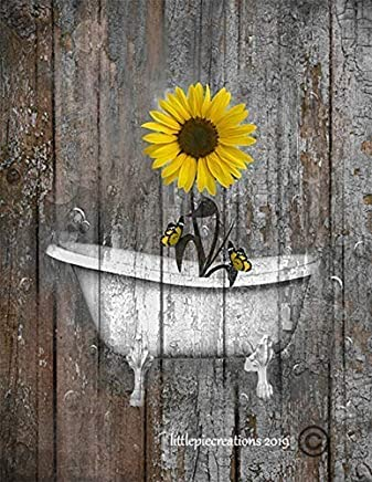 """Brown Yellow Bathroom Farmhouse Wall Pictures, Sunflower Butterflies Wall Art, Rustic Modern Decor, Littlepiecreations Original USA Handmade 8""""x10"""" Photo with 11""""x14"""" White Mat (Fits 11""""x14"""" Frame)"""