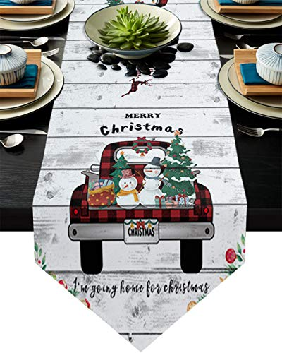 Cotton Linen Burlap Table Runner Christmas Tree Snowman Buffalo Plaid Truck Home Decorative Table Cloth Cover for Kitchen Dining Banquet Party/Parties Tabletop Picnic Dinner Wood Planks 14x72in