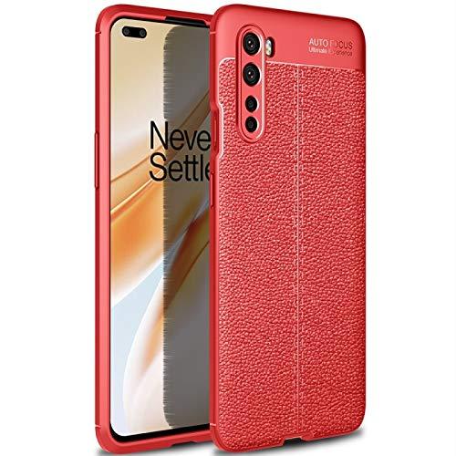 JIANWU CAS de couverture, para OnePlus Nord Litchi Texture TPU Funda a Prueba de Golpes (Color : Red)